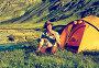 Турист у палатки на Алтае, фото № 5579783, снято 26 июля 2007 г. (c) Serg Zastavkin / Фотобанк Лори