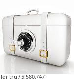 Купить «Белый чемодан-сейф, на белом фоне с отражением», иллюстрация № 5580747 (c) Guru3d / Фотобанк Лори
