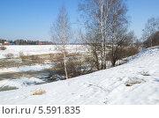 Купить «Весенний сельский пейзаж», эксклюзивное фото № 5591835, снято 16 апреля 2013 г. (c) Елена Коромыслова / Фотобанк Лори