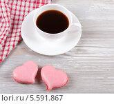 Кофе и миндальные печенья. Стоковое фото, фотограф Денис Афонин / Фотобанк Лори