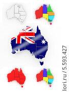 Купить «Трехмерная карта Австралии», иллюстрация № 5593427 (c) Maksym Yemelyanov / Фотобанк Лори