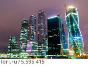 Московский международный деловой центр Москва-Сити ночью. Редакционное фото, фотограф Денис Веселов / Фотобанк Лори