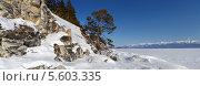 Купить «Красивый панорамный вид на побережье озера Байкал с Ушканьих островов, Россия», фото № 5603335, снято 24 февраля 2020 г. (c) Николай Винокуров / Фотобанк Лори