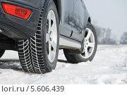 Купить «Заполненные снегом протекторы зимних шин автомобиля», фото № 5606439, снято 7 февраля 2014 г. (c) Дмитрий Калиновский / Фотобанк Лори