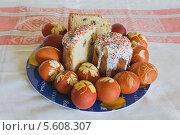 Купить «Кулич и пасхальные яйца», фото № 5608307, снято 10 мая 2013 г. (c) Юлия Ермакова / Фотобанк Лори