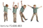 Купить «Веселый прыгающий мальчик на белом фоне», фото № 5608483, снято 8 февраля 2014 г. (c) Владимир Мельников / Фотобанк Лори
