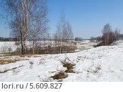 Купить «Весенний сельский пейзаж с рекой», эксклюзивное фото № 5609827, снято 16 апреля 2013 г. (c) Елена Коромыслова / Фотобанк Лори