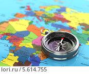 Купить «Серебряный компас на карте мира», иллюстрация № 5614755 (c) Maksym Yemelyanov / Фотобанк Лори