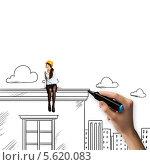 Купить «Рука рисует девушку-строителя на крыше дома», фото № 5620083, снято 20 августа 2018 г. (c) Sergey Nivens / Фотобанк Лори