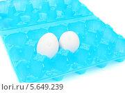 Купить «Два белых куриных яйца в голубом пластиковом контейнере на белом фоне», фото № 5649239, снято 13 ноября 2013 г. (c) lanych / Фотобанк Лори