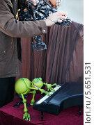 Купить «Уличный театр - лягушка-марионетка играет на пианино в Мадриде, Испания», фото № 5651531, снято 11 марта 2012 г. (c) Losevsky Pavel / Фотобанк Лори