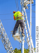Купить «Электромонтер устанавливает оборудование на опоре ЛЭП», фото № 5662899, снято 3 сентября 2013 г. (c) Владимир Сергеев / Фотобанк Лори