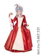 Купить «Женщина в платье королевы с карнавальной маской», фото № 5667131, снято 13 декабря 2013 г. (c) Сергей Сухоруков / Фотобанк Лори