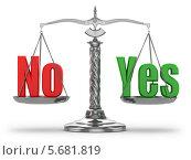 Купить «Выбор да или нет. Весы на белом фоне», иллюстрация № 5681819 (c) Maksym Yemelyanov / Фотобанк Лори