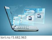 Купить «Раскрытый современный ноутбук с запущенным приложением», фото № 5682963, снято 14 ноября 2013 г. (c) Syda Productions / Фотобанк Лори