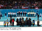 Купить «Награждение медалистов. Керлинг. Сочи. Олимпийские игры 2014», фото № 5689271, снято 22 февраля 2014 г. (c) Корчагина Полина / Фотобанк Лори