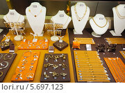 Купить «Ювелирные изделия из золота на витрине», фото № 5697123, снято 7 декабря 2019 г. (c) Яков Филимонов / Фотобанк Лори