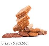 Купить «Вафли, вафельные трубочки и печенье», фото № 5705563, снято 20 февраля 2012 г. (c) Natalja Stotika / Фотобанк Лори