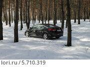 Черный автомобиль в зимнем лесу на проселочной дороге (2012 год). Редакционное фото, фотограф Дмитрий Романенко / Фотобанк Лори