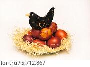Купить «Игрушечная птица сидит на пасхальных яйцах», эксклюзивное фото № 5712867, снято 6 мая 2013 г. (c) Dmitry29 / Фотобанк Лори