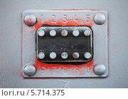 Купить «Старый кодовый замок с кнопками на серой металлической двери», фото № 5714375, снято 17 марта 2014 г. (c) EugeneSergeev / Фотобанк Лори