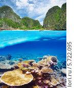 Купить «Лагуна с коралловыми рифами тропического моря», фото № 5722095, снято 30 июля 2011 г. (c) Николай Охитин / Фотобанк Лори