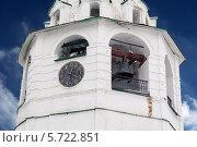 Купить «Часы куранты на шатровой колокольне. Суздальский кремль», эксклюзивное фото № 5722851, снято 23 февраля 2014 г. (c) Михаил Широков / Фотобанк Лори