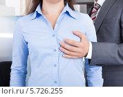 Купить «деловой мужчина держит рукой женскую грудь», фото № 5726255, снято 13 октября 2013 г. (c) Андрей Попов / Фотобанк Лори