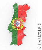 Купить «Карта Португалии, раскрашенная в цвета португальского флага, на белом фоне», иллюстрация № 5731943 (c) Maksym Yemelyanov / Фотобанк Лори