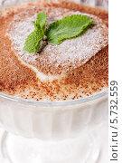 Мороженое в креманке с листьями мяты. Стоковое фото, фотограф Rumo / Фотобанк Лори