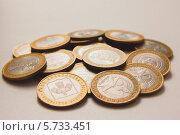 Купить «Юбилейные десятирублевые монеты современной России», эксклюзивное фото № 5733451, снято 23 марта 2014 г. (c) Иван Карпов / Фотобанк Лори