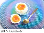 Купить «Яйцо всмятку и ложка на красивой голубой тарелке крупно», эксклюзивное фото № 5733927, снято 21 марта 2014 г. (c) Яна Королёва / Фотобанк Лори