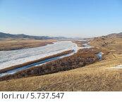 """Бурятия, река Селенга, скованная льдом. Вид с горы """"Омулёвая"""" Стоковое фото, фотограф Дина Мальцева / Фотобанк Лори"""