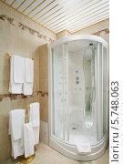 Купить «Чистая ванная комната с душевой кабиной и вешалки с полотенцами», фото № 5748063, снято 25 января 2013 г. (c) Losevsky Pavel / Фотобанк Лори