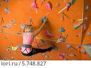 Купить «Блондинка в снаряжении на скалодроме», фото № 5748827, снято 5 декабря 2012 г. (c) Losevsky Pavel / Фотобанк Лори