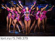 Купить «Девять красивых девушек в фиолетовых костюмах танцуют на сцене», фото № 5749379, снято 17 февраля 2013 г. (c) Losevsky Pavel / Фотобанк Лори
