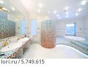 Купить «Интерьер роскошной ванной комнаты  с джакузи и двумя раковинами», фото № 5749615, снято 16 января 2013 г. (c) Losevsky Pavel / Фотобанк Лори