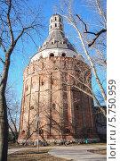 Купить «Башня Дуло Симонова монастыря», эксклюзивное фото № 5750959, снято 27 марта 2014 г. (c) Алёшина Оксана / Фотобанк Лори