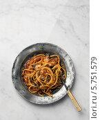 Купить «макароны с сардинами, вид сверху», фото № 5751579, снято 30 декабря 2011 г. (c) Food And Drink Photos / Фотобанк Лори