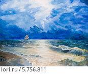 Бурное море и одинокий парусник. Стоковая иллюстрация, иллюстратор Олег Хархан / Фотобанк Лори
