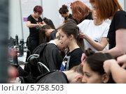 Купить «В гримерной моделей на Неделе моды в Гостином дворе города Москвы», фото № 5758503, снято 30 марта 2014 г. (c) Николай Винокуров / Фотобанк Лори
