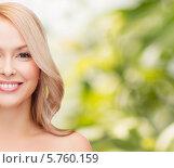 Купить «Портрет ухоженной красивой блондинки на фоне природы», фото № 5760159, снято 7 января 2014 г. (c) Syda Productions / Фотобанк Лори