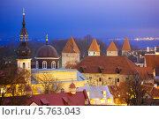 Купить «Башни Старого города.Таллин, Эстония», эксклюзивное фото № 5763043, снято 6 января 2014 г. (c) Литвяк Игорь / Фотобанк Лори