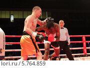 Купить «Балашиха, боксёрский поединок профессионалов на ринге», эксклюзивное фото № 5764859, снято 29 марта 2014 г. (c) Дмитрий Неумоин / Фотобанк Лори