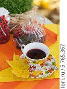Чашка на блюдце с чаем каркаде и кленовым листом на фоне стеклянного чайника (2013 год). Редакционное фото, фотограф Виктория Чеканова / Фотобанк Лори