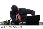 Вор в балаклаве забрался в офис и вставляет флешку в ноутбук. Стоковое фото, фотограф verbaska / Фотобанк Лори