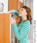 Купить «Счастливая молодая женщина протирает от пыли мебель дома», фото № 5775935, снято 17 октября 2018 г. (c) Яков Филимонов / Фотобанк Лори