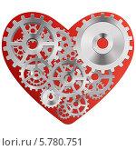 Красное сердце с шестеренками. Стоковая иллюстрация, иллюстратор Alioshin.aleksey / Фотобанк Лори
