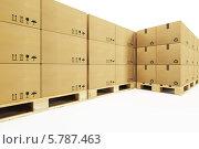 Купить «Стопки картонных коробок на поддонах», иллюстрация № 5787463 (c) Дмитрий Кутлаев / Фотобанк Лори