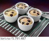 Купить «четыре порции пудинга с голубикой», фото № 5791487, снято 19 октября 2019 г. (c) Food And Drink Photos / Фотобанк Лори